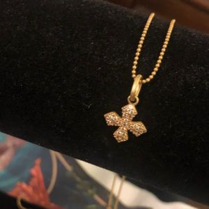 FAS Sterling, Gold Overlay, Baroque Cross Necklace